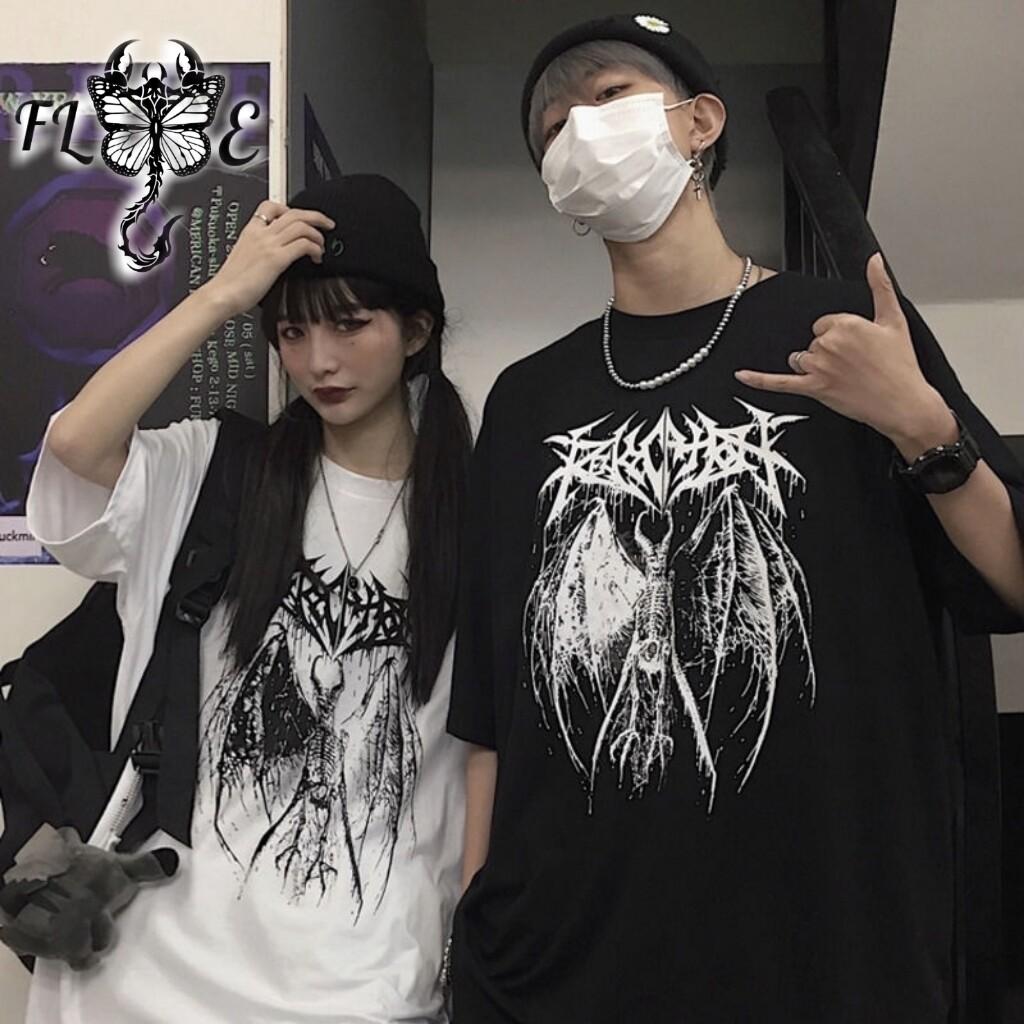 Flye Fashion 1pcs Casual Short Sleeve Tops  Hip Hop Harajuku College Wind Devil Wings