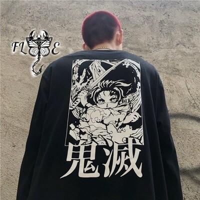 Flye Fashion 1pcs Long Sleeve T-shirt  Dark High Street Ins Cartoon Printing Loose