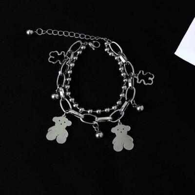 Flye Fashion 1pcs Bear Bracelet  Couple Chain Bracelet Double Layer Gummy Bear
