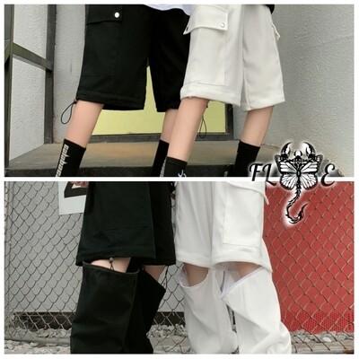 Flye Fashion 1pcs Cargo Pants Hip Hop Trend Detachable Two Wear Straight Loose
