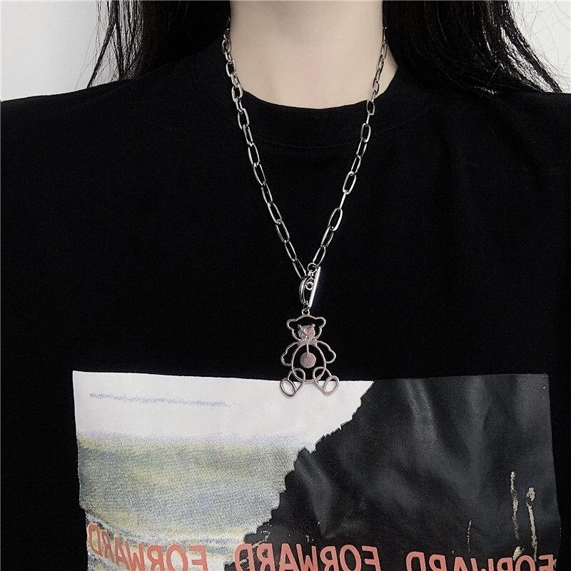 Flye Fashion 1pcs Hollow Out Bear Necklace  Hip Hop Unisex Hand Pendant