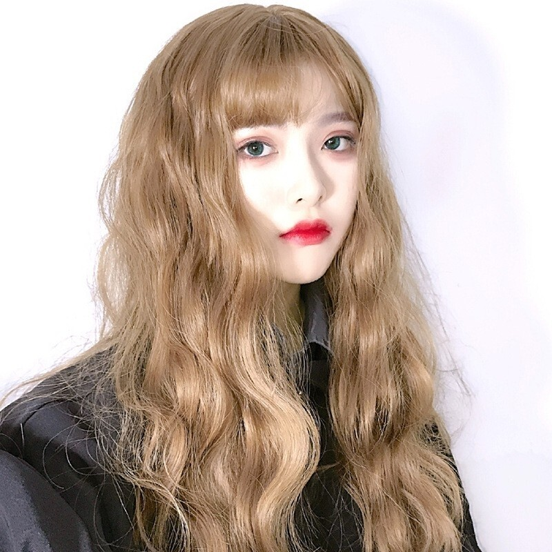 1pcs Fashion Korean Harajuku Wool Roll Wig Blue Gray Orange Long Curly Hair Cosplay Dream