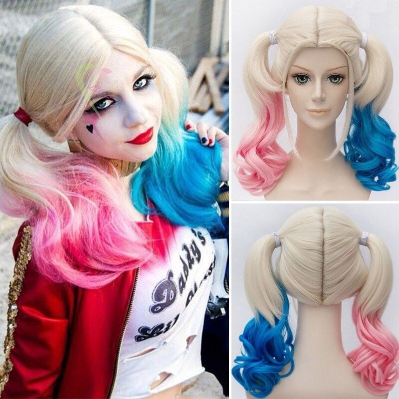 1pcs  Hair Extensions Batman Suicide Squad Harley Quinn Cosplay Wig Pink Blue