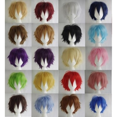 1pcs  Men Women Multi-Color Short Straight Hairpiece Full Wig for Anime  Cosplay