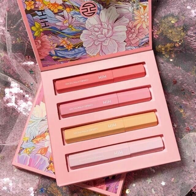 4 in 1 Velvet Lip Gloss Makeup Set + Gift Box