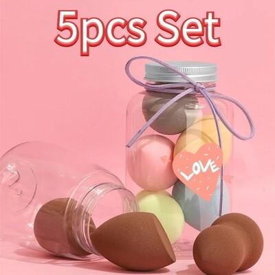 5pcs Bottle Makeup Sponge Set Beauty Blender Mixed Colour