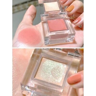 2 colors Dual use cheek blusher eyeshadow highlighter makeup set