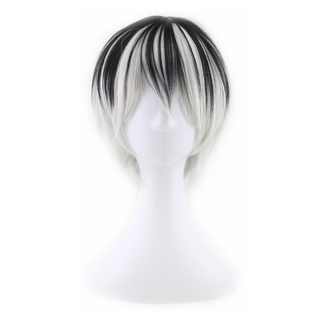 1pcs Cosplay Wig Short Black Gradient White Straight Synthetic Hair Halloween Wig