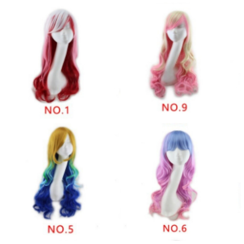 1pcs Rainbow Multi Color Wig Long Big Wavy Curly Spiral Hair Cosplay Wigs