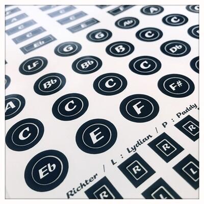Stickers Tonalités Noir & Blanc - Key labels for harmonicas