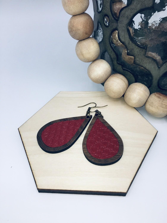 Red Croc Teardrop Earrings