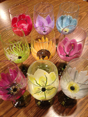 9 LEFT! Entertainment, Paint & Sip - Paint On 2 Large Wine Glasses w/ Glass Paint (Edison Studio)