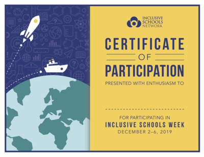 2019 Inclusive Schools Week Certificates (30 count)