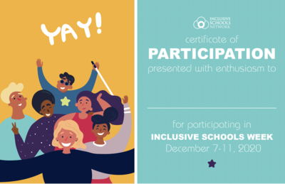 2020 Inclusive Schools Week Certificates (30 count)