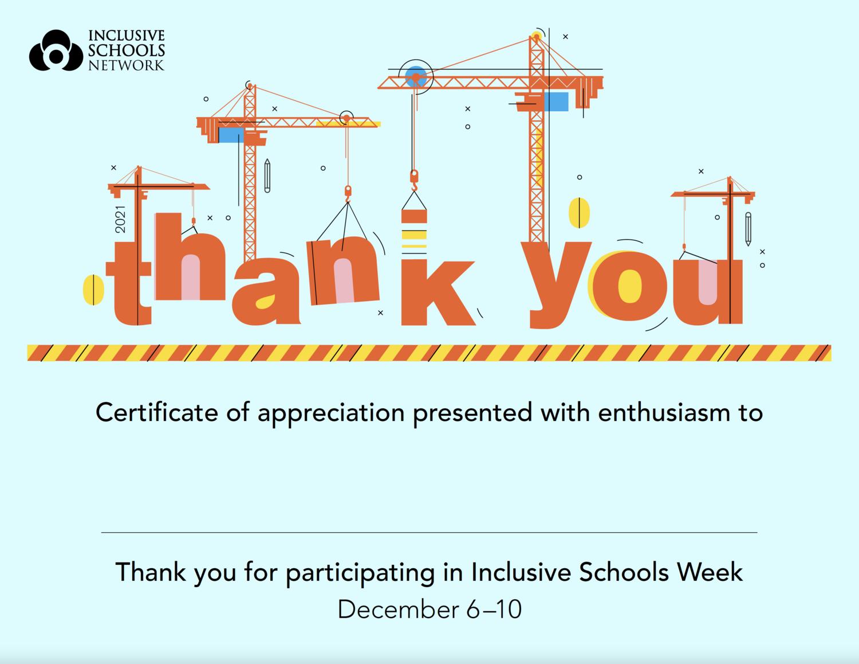 2021 Inclusive Schools Week Certificates (30 count)