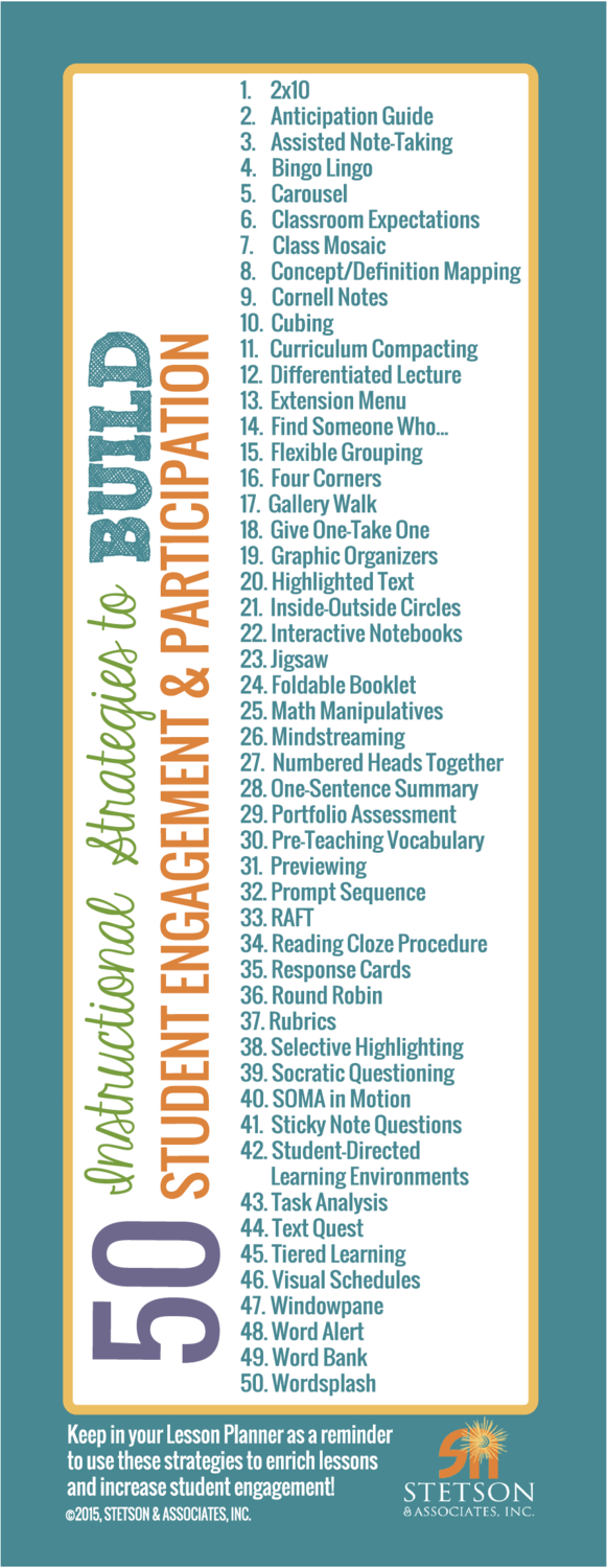 50 Instructional Strategies to Build Student Engagement & Participation Bookmark