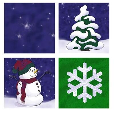 Snowman Tiles Coaser Set