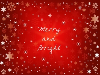 """Snowflakes on Red with """"Merry and Bright"""""""