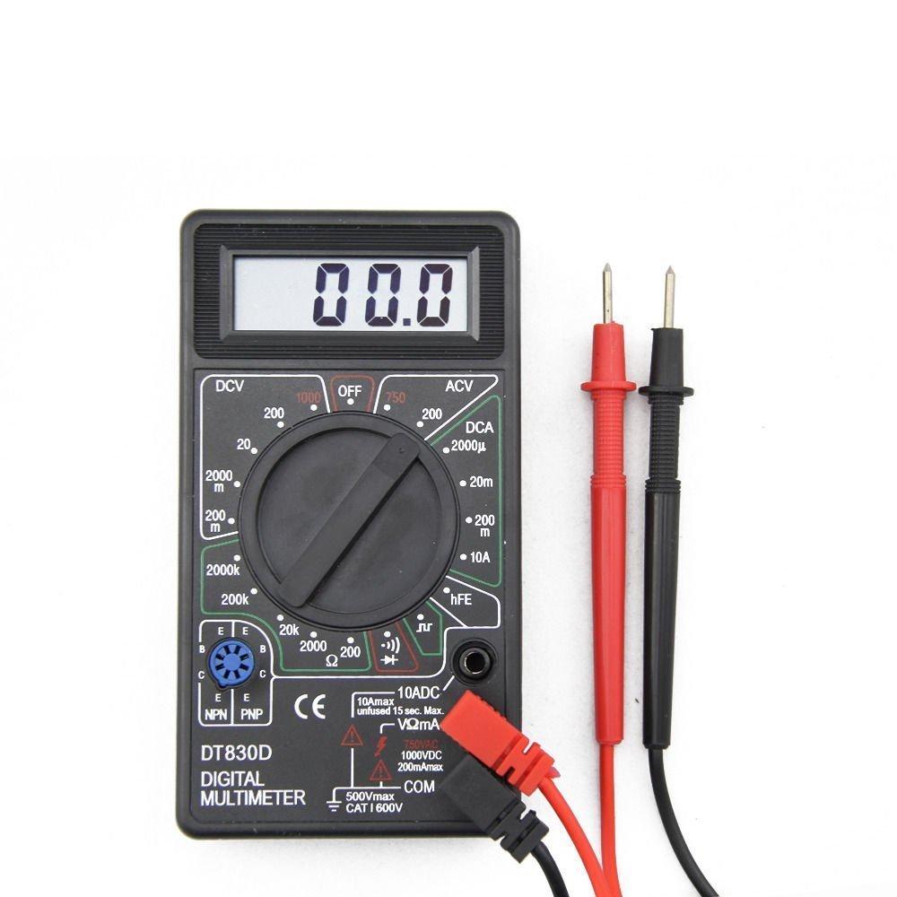 MULTIMETRO SIENOC DT830D LCD DIGITAL VOLTMETER AMMETER OHM CON TEST LEADS COLOR NEGRO