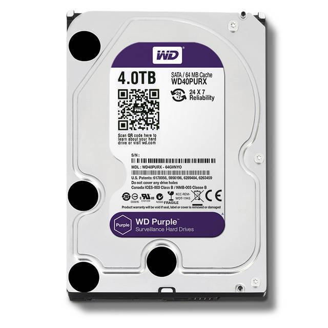 disco duro western digital sata3 3.5in 4tb intellipower 64mb cache wd40purx optimizado para 32 camaras hd purpura