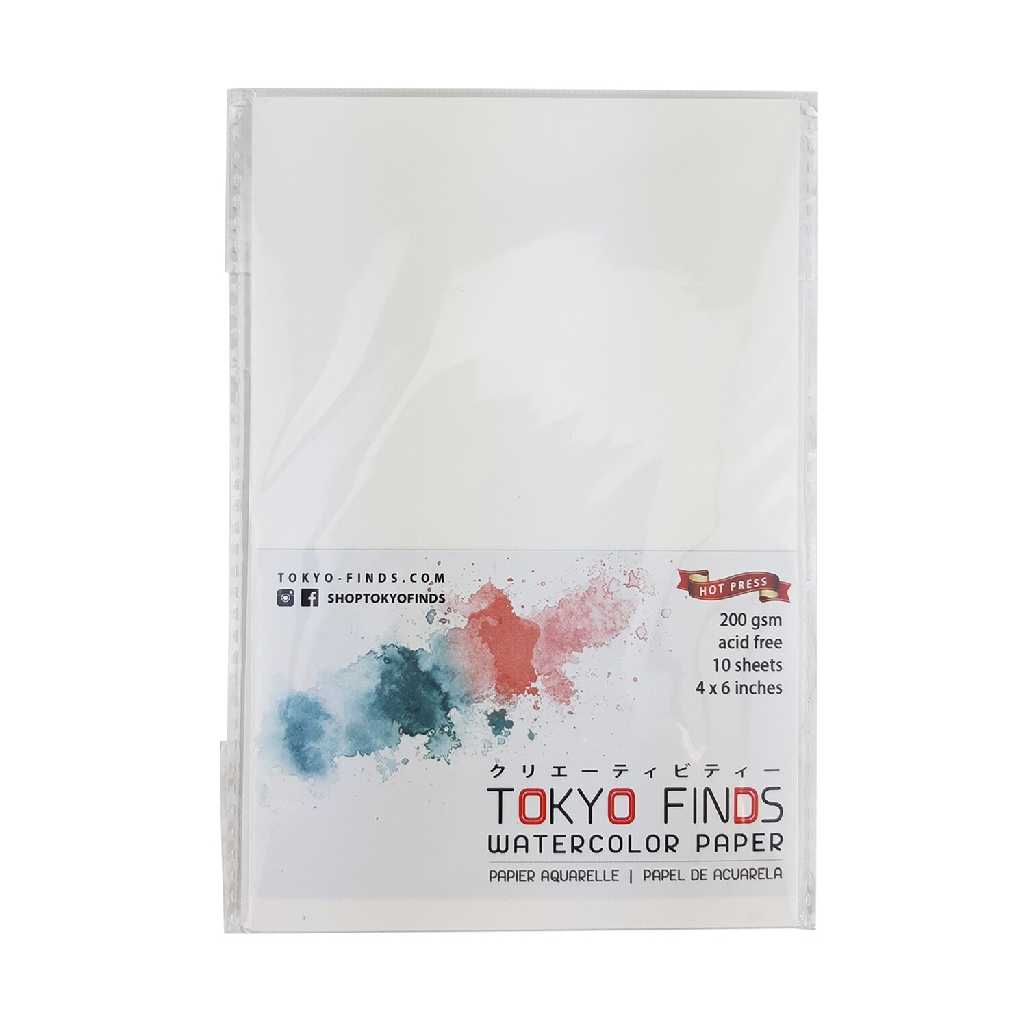 Tokyo Finds Watercolor Paper Hot Press (Smooth) 200 GSM 4x6 inches