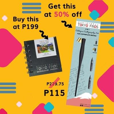 Buy Tokyo Finds Watercolor Journal (S), get 50% off on Oblique Calligraphy Pen