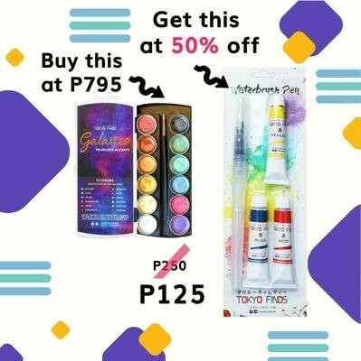 Buy Tokyo Finds Galaxies Pearlized Accents, get 50% off on Waterbrush Pen with Watercolor Tubes