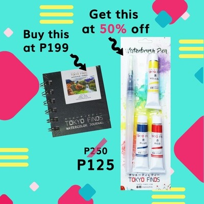 Buy Tokyo Finds Watercolor Journal (S), get 50% off on Waterbrush Pen with Watercolor Tubes