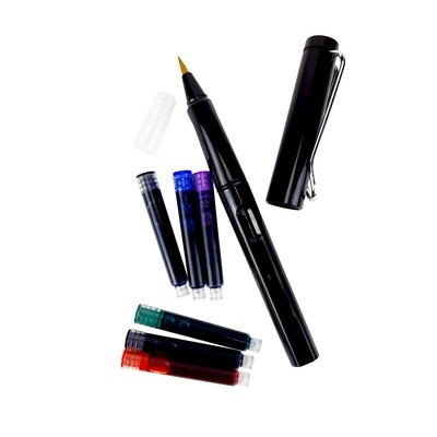 Tokyo Finds Tori Calligraphy Brush Pen Black with 6 Ink Catridges (Classic Series)