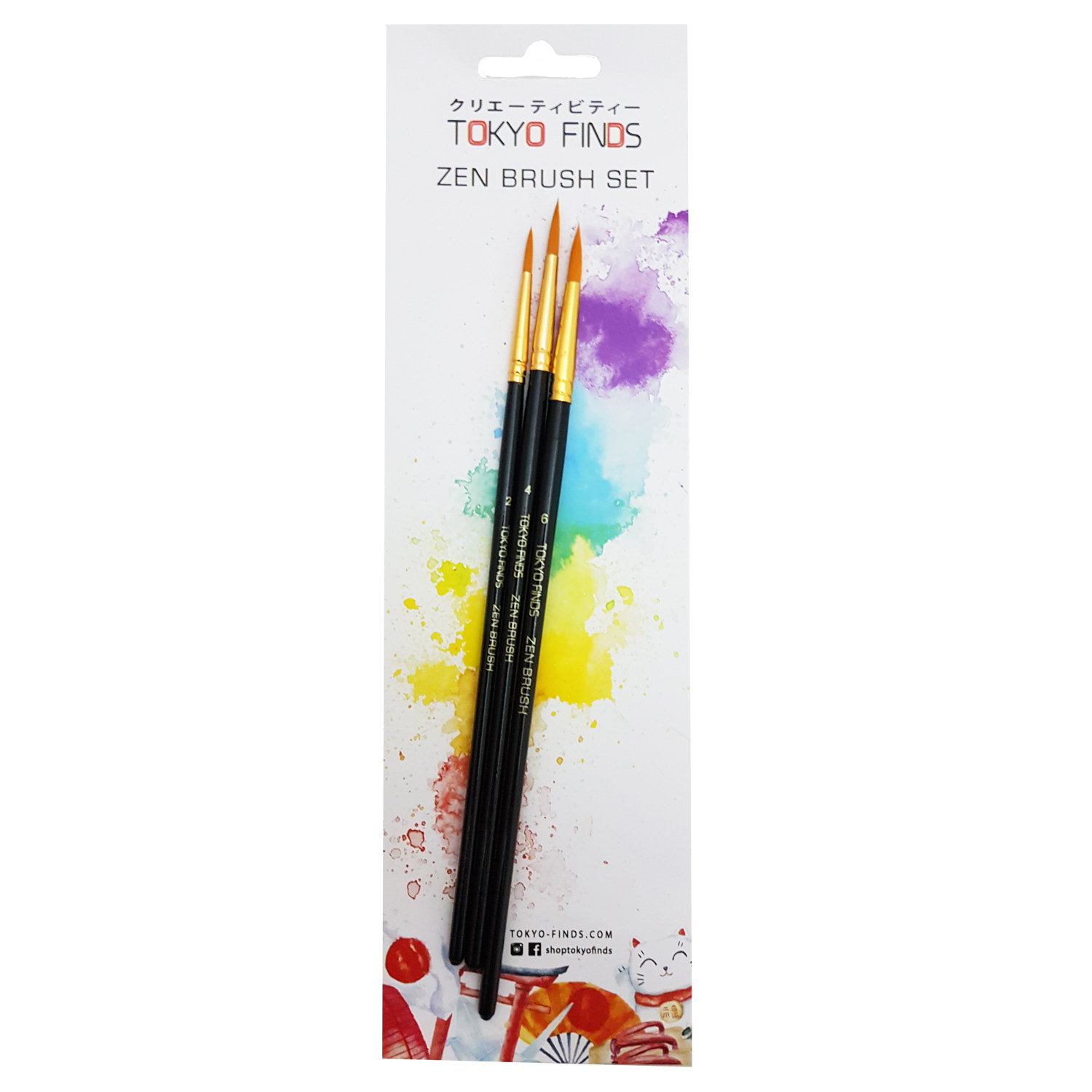 Tokyo Finds Professional Zen Brush Set of 3 for Acrylic Watercolor or Oil