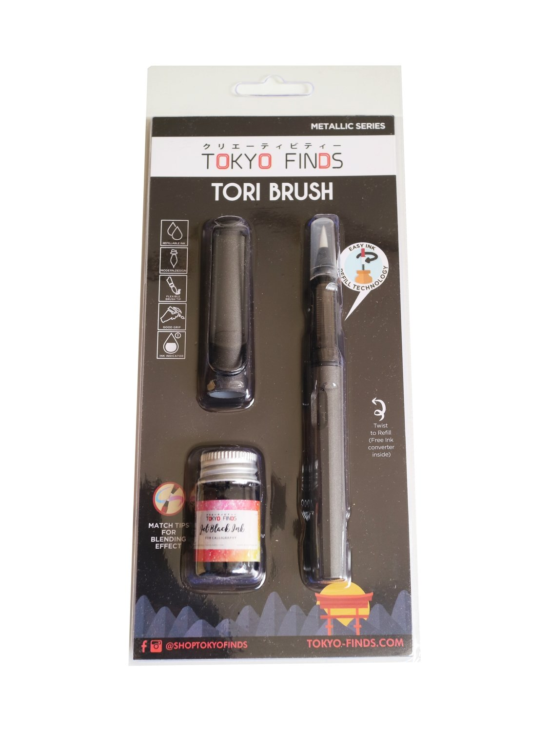[New] Tokyo Finds Tori Brush Pen Blue (Premium Metallic)