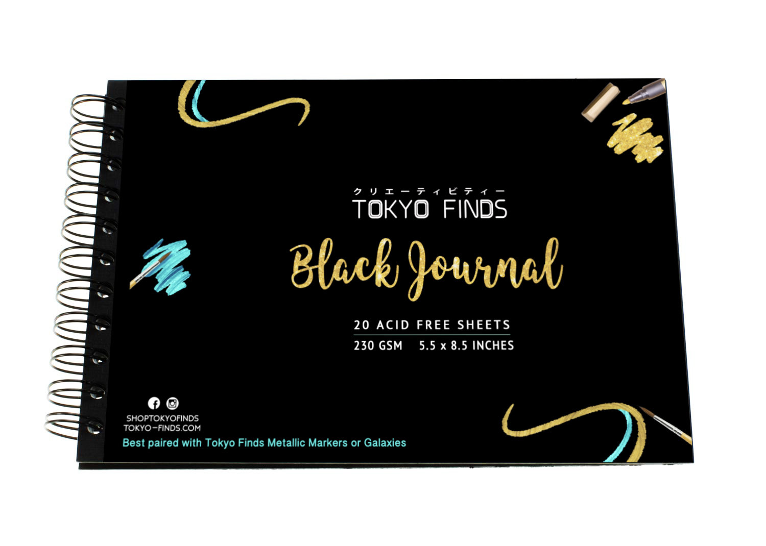 Tokyo Finds Black Journal for Mixed Media