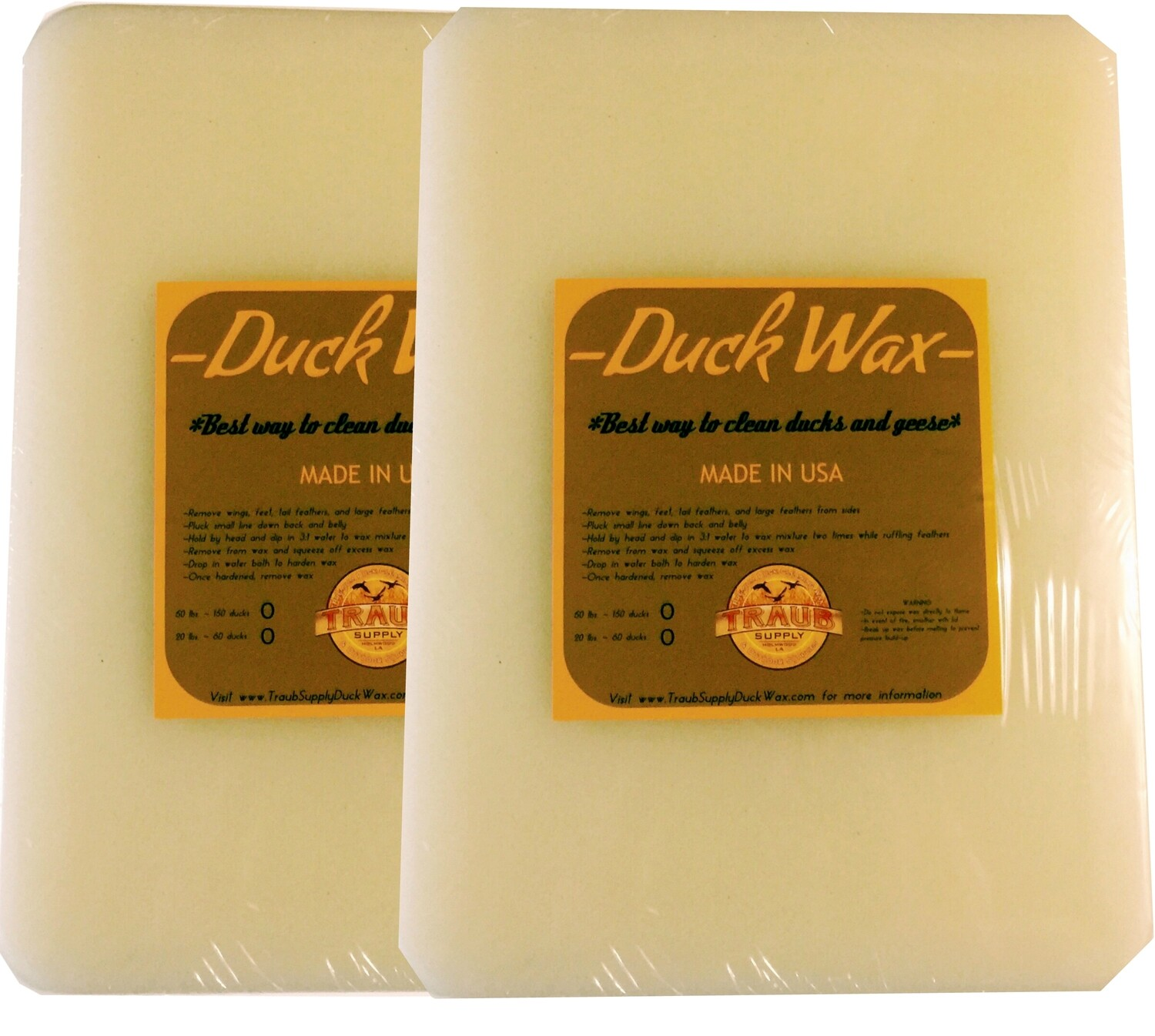 BUY NOW - 2 slabs 22 lbs. Farm Duck Wax (CLEANS ABOUT 40-60 FARM DUCKS) USA ONLY SHIPPING INCLUDED