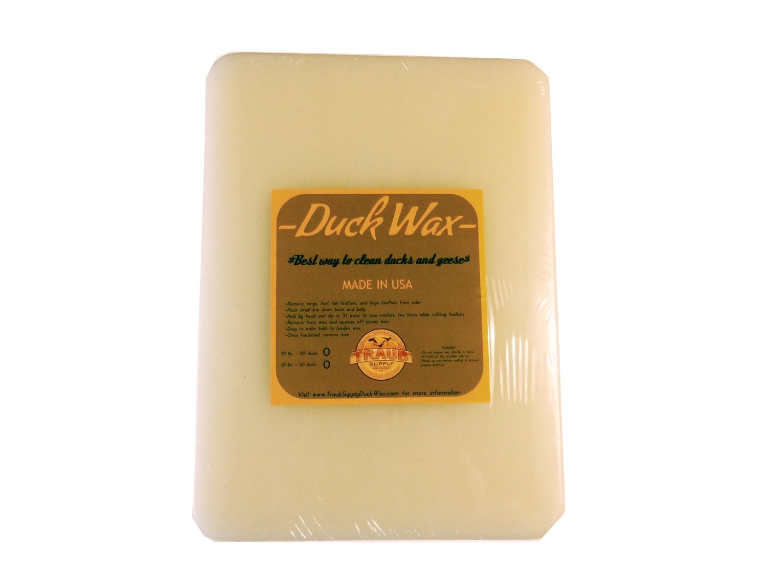 BUY NOW - 1 slab 11 lbs. Wild Duck Wax (CLEANS ABOUT 30 WILD DUCKS) USA ONLY SHIPPING INCLUDED