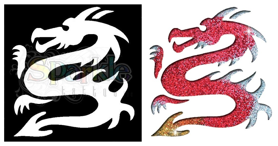 Dragon Glitter Tattoo Stencil