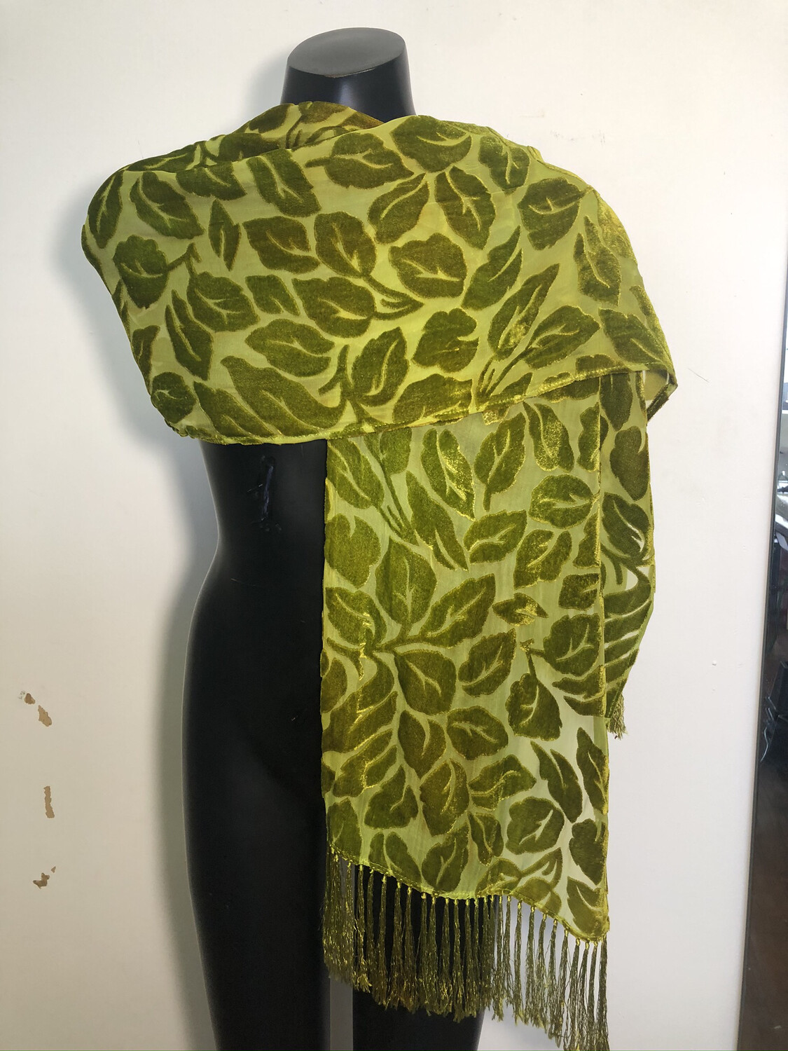 Forest Green Leaves Burnout Scarf With Fringe