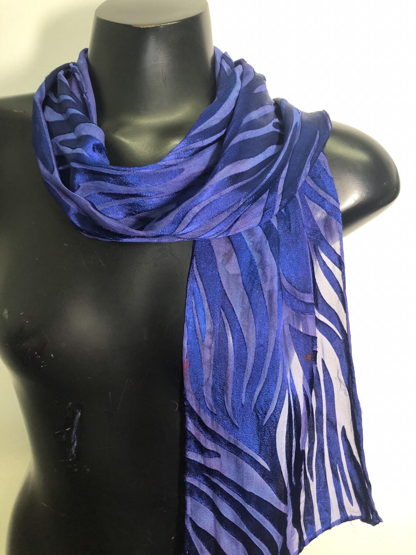Navy blue Satin burnout Jungle StripeScarf