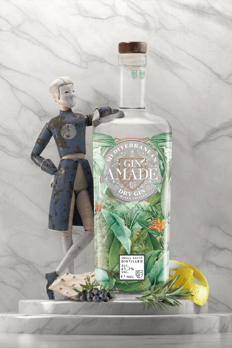 Gin Amade' Mediterranean Dry Gin. 0,7lt.