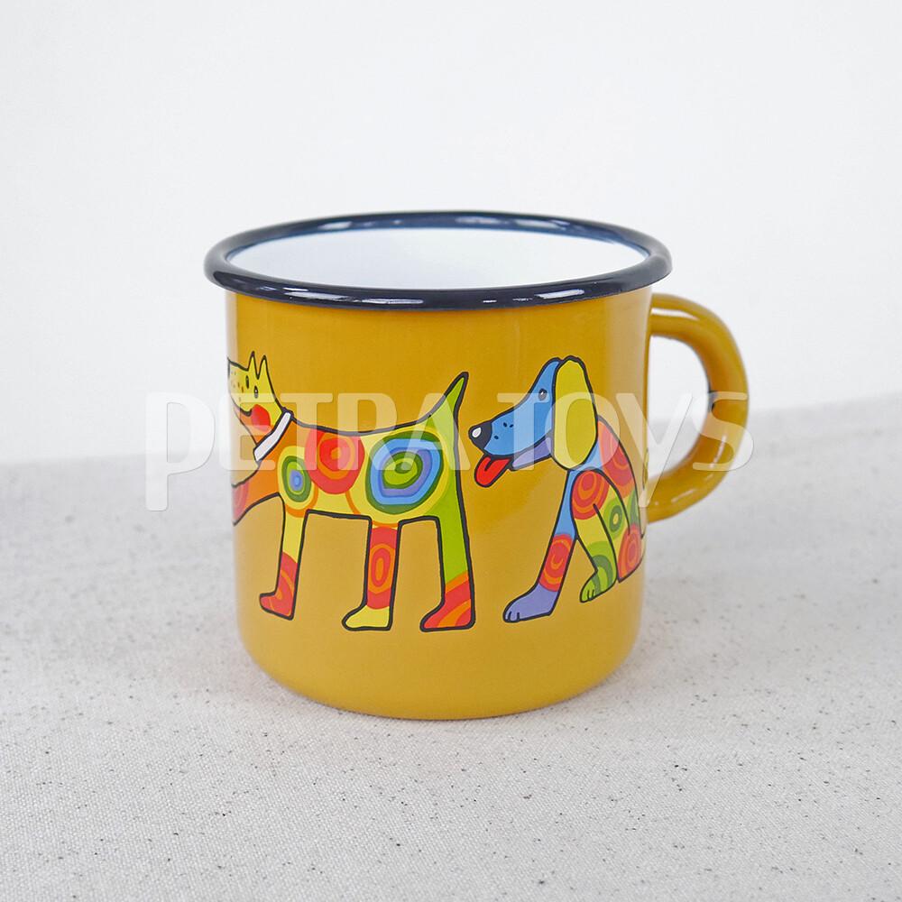 Spotted Dog Enamel Mug - Yellow