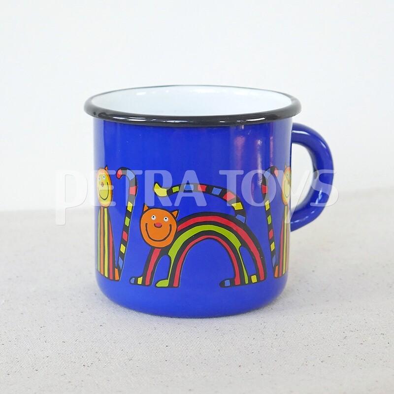 Striped Cat Enamel Mug - Blue