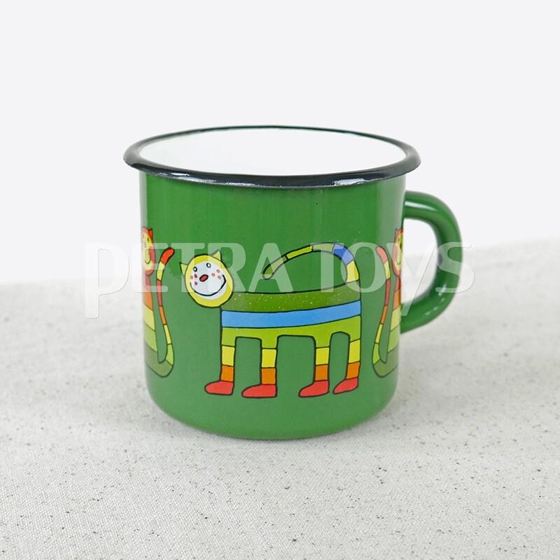 Rainbow Cat Enamel Mug - Green