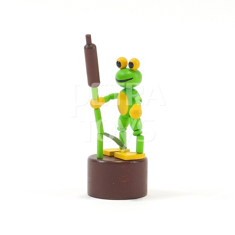 Frog with Cattail Press Puppet