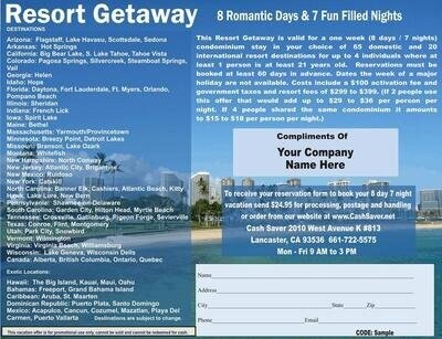 Full Color Electronic 8 Day Vacation Certificate