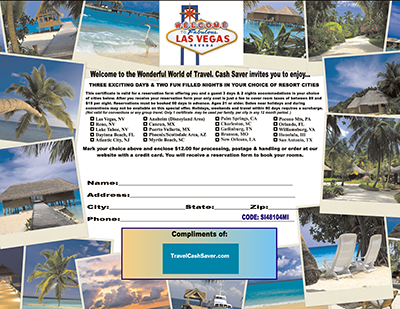 Full Color Electronic 3 Day Vacation Certificate
