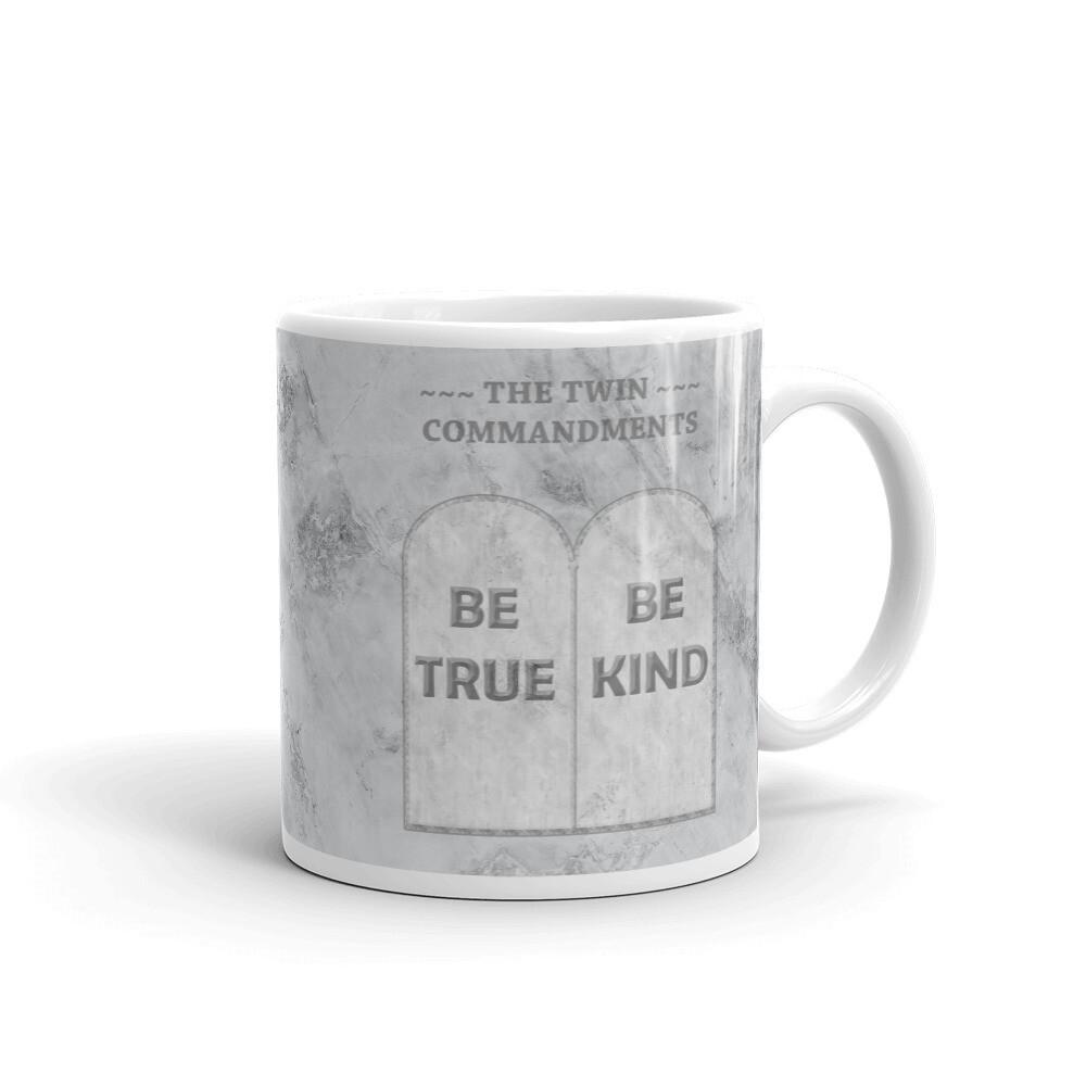 THE TWIN COMMANDMENTS White glossy mug