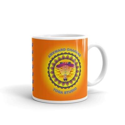 AWKWARD CHAKRAS YOGA STUDIO White glossy mug