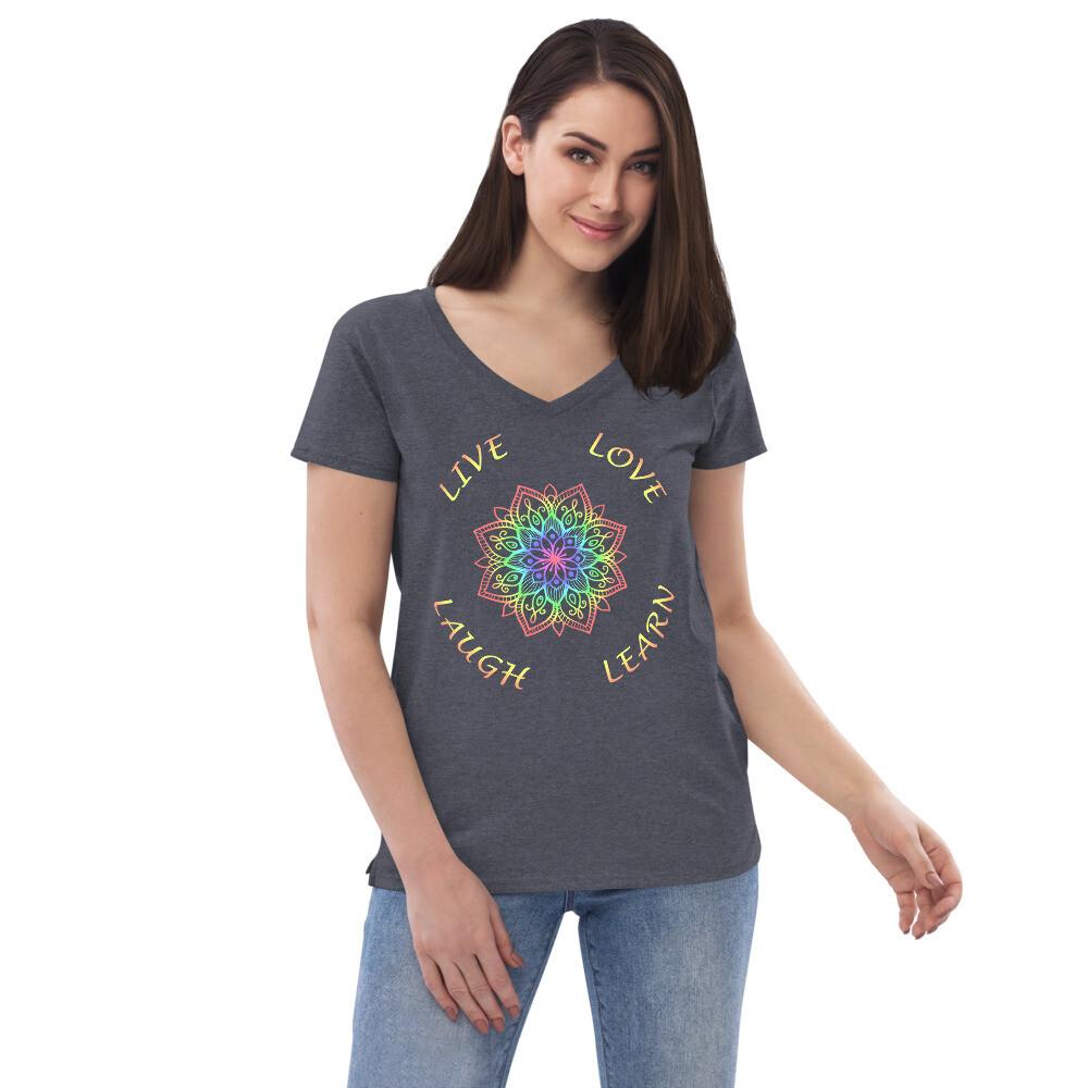 LIVE LOVE LAUGH LEARN Mandala Women's Recycled V-neck T-shirt