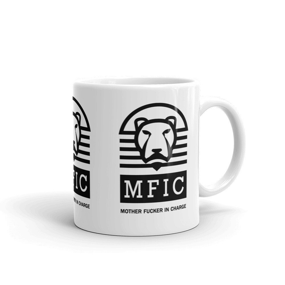 MFIC Mother Fucker In Charge White glossy mug