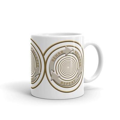 REHAB-RELAPSE-REPEAT White glossy mug