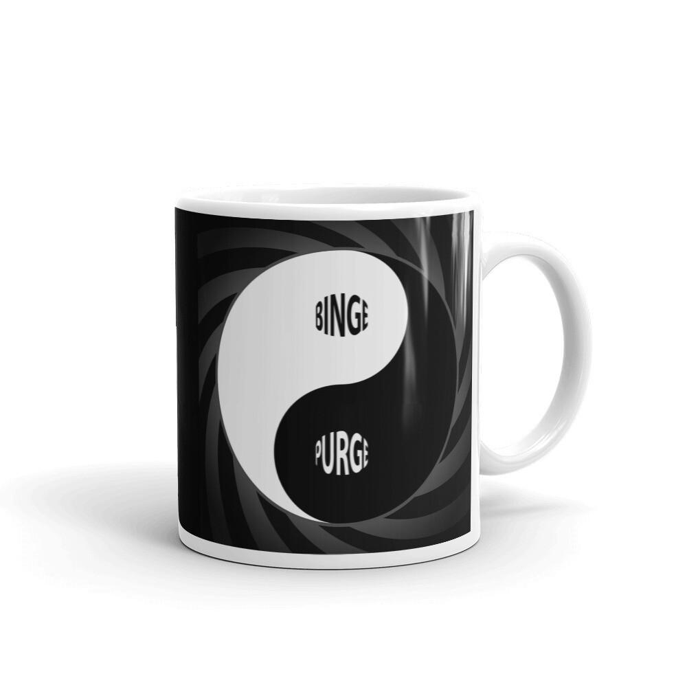 BINGE-PURGE-Yin-Yang White glossy mug